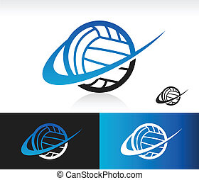 Swoosh Volleyball Icon - Volleyball icon with swoosh graphic...