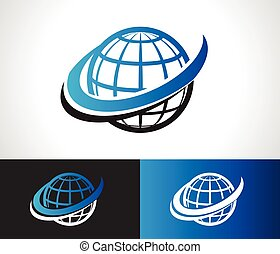 Swoosh World Logo Icon - World logo icon with swoosh graphic...