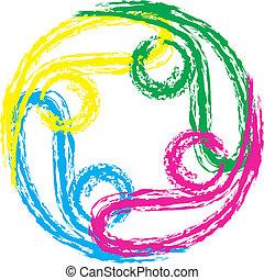 swooshes, チームワーク, 4, ロゴ, ベクトル