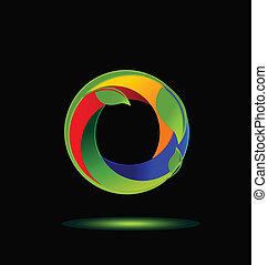 swooshes, colorido, folheia, logotipo