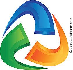 swooshes, conectado, logotipo