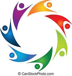swooshes, csapatmunka, színes, jel