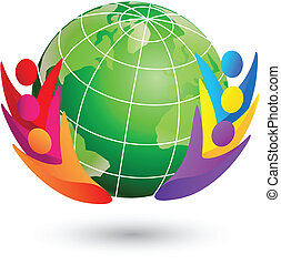 Swooshes figures and earth teamwork logo