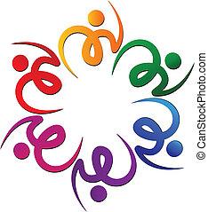 swooshes, flor, trabajo en equipo, logotipo