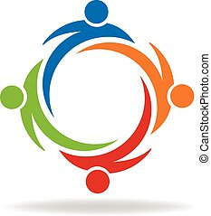 Swooshes logo - Teamwork partners friendship swooshes logo...
