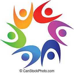 Swooshes people around star logo 2