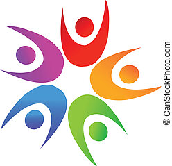 Swooshes people around star logo 3