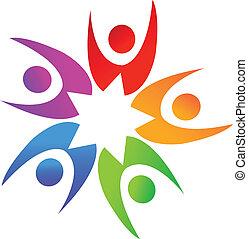 Swooshes people around star logo - Swooshes people around...