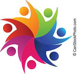 swooshes, teamwork, logo
