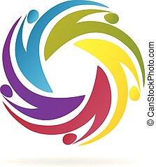 Swooshes teamwork people logo