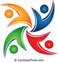 Swooshes teamwork union logo