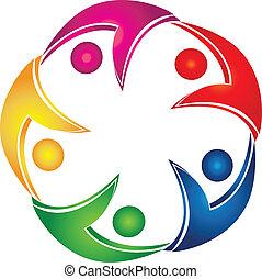 swooshes, teamwork, zakelijk, logo