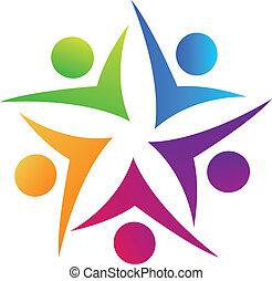 swooshes, trabalho equipe, estrela, logotipo