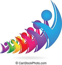 swooshes, trabalho equipe, happyfigures, logotipo