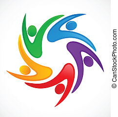 swooshes, trabalho equipe, logotipo
