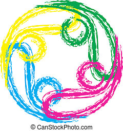 swooshes, vetorial, trabalho equipe, 4, logotipo