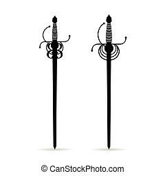 sword ancient set in black color illustration