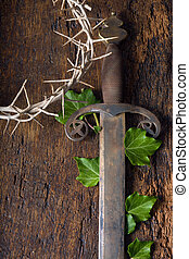 Sword and crown of thorns - Crown of thorns and sword...