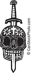 Woodcut style image of a sword impaling a Mexican day of the dead skull.