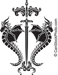 Sword and dragons stencil