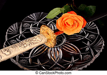 Sword and rose - Sword hilt pommel blade and handle isolated...