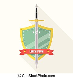 Sword and shield flat style badge icon