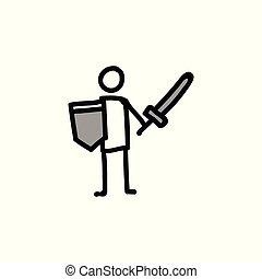 Sword and shield stickman vector illustration.