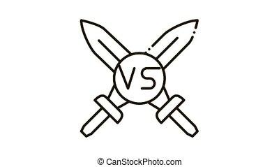 Sword Battle Icon Animation. black Sword Battle animated icon on white background