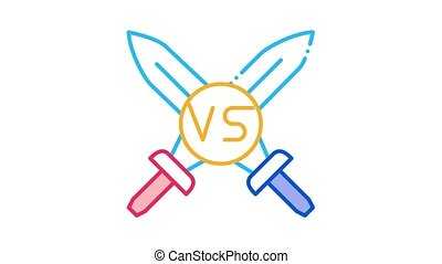 Sword Battle Icon Animation. color Sword Battle animated icon on white background