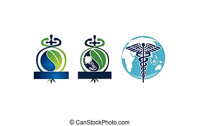 Sword Caduceus Leaf Emblem Blank Template Set