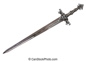 Sword disposed by diagonal, isolated on white background. Cut out.