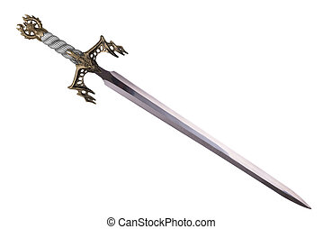 Sword disposed by diagonal, isolated on white background.