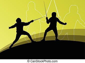Sword fighters active young men and women fencing sport...