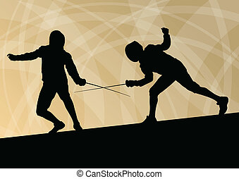 Sword fighters active young men fencing sport silhouettes...