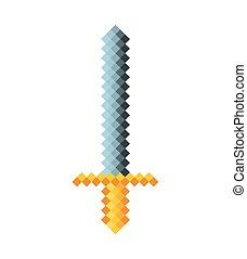 sword game pixelated icon vector illustration design