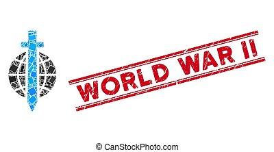 Sword Globe Mosaic and Distress World War Ii Watermark with Lines