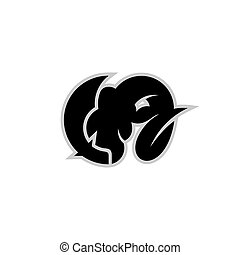 Long horn goat logo, with a dagger design concept, goat slaughtering logo illustration, isolated on white background.