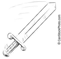 Sword icon - Cartoon weapon of Dark ages. Eps 10 vector ...