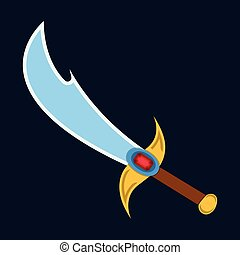 Sword icon. Label of fantasy and medieval weapon. Cartoon style. Vector illustration logo