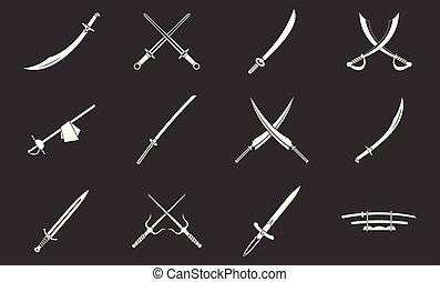Sword icon set grey vector