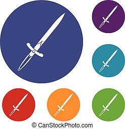 Sword icons set in flat circle red, blue and green color for...