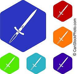 Sword icons set hexagon