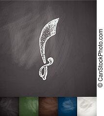 sword knight icon. Hand drawn vector illustration