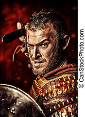 sword man - Portrait of a courageous ancient warrior in...