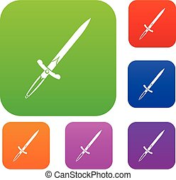 Sword set color collection - Sword set icon color in flat...