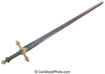 Sword displayed by diagonal, isolated on white background.