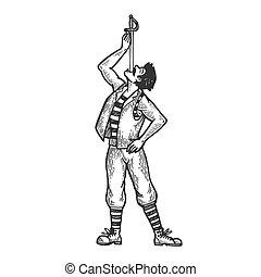 Sword swallowing circus performer engraving vector...