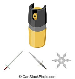 Sword, two-handed sword, gas balloon, shuriken. Weapons set...