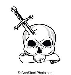 sword weapon with skull tattoo art icon