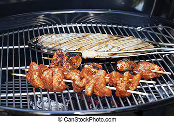 Swordfish and Chicken Skewers on Grill Cooking - Fish and...